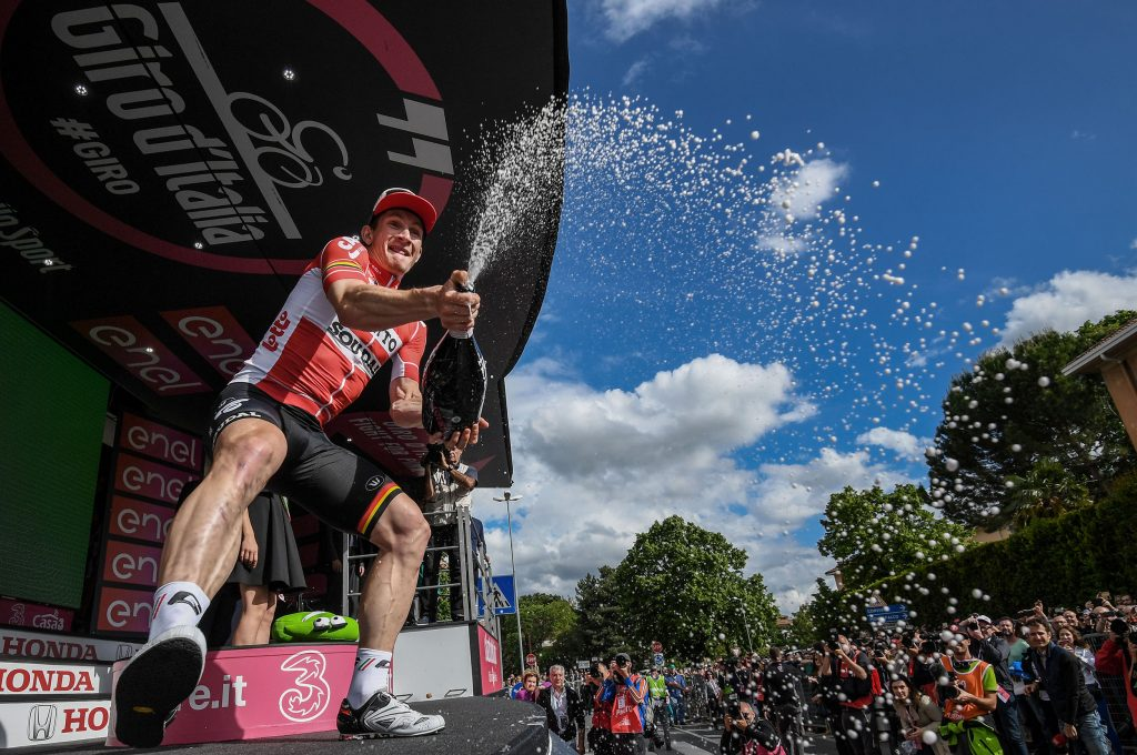 German rider Andre Greipel (C) of the Lotto Soudal team celebrates on the podium after winning the seventh stage of the Giro d'Italia cycling race over 211km from Sulmona to Foligno, Italy, 13 May 2016. Greipel took the best sprinters red jersey. ANSA/ALESSANDRO DI MEO